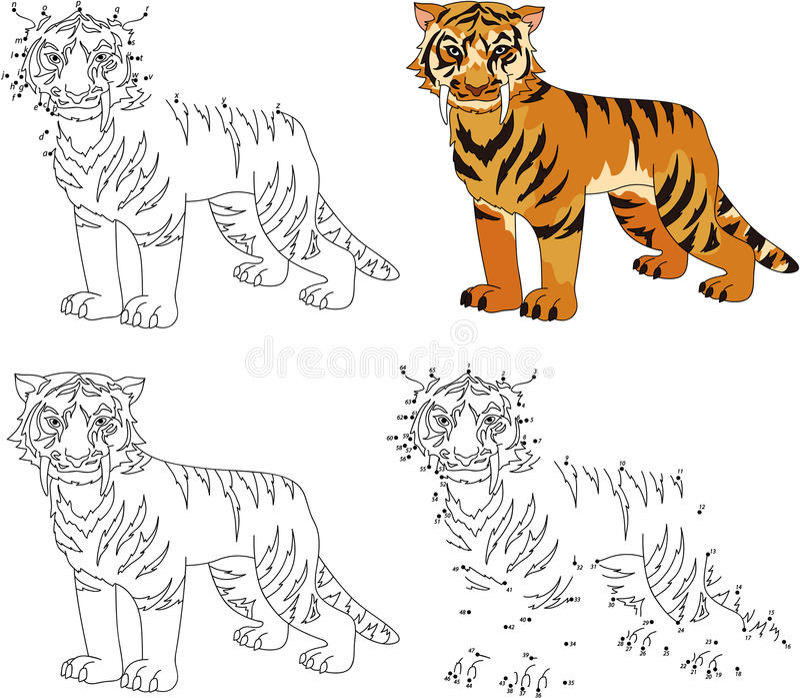 Kreskówka uzębiony tygrys Kolorystyki kropka i ilustracji