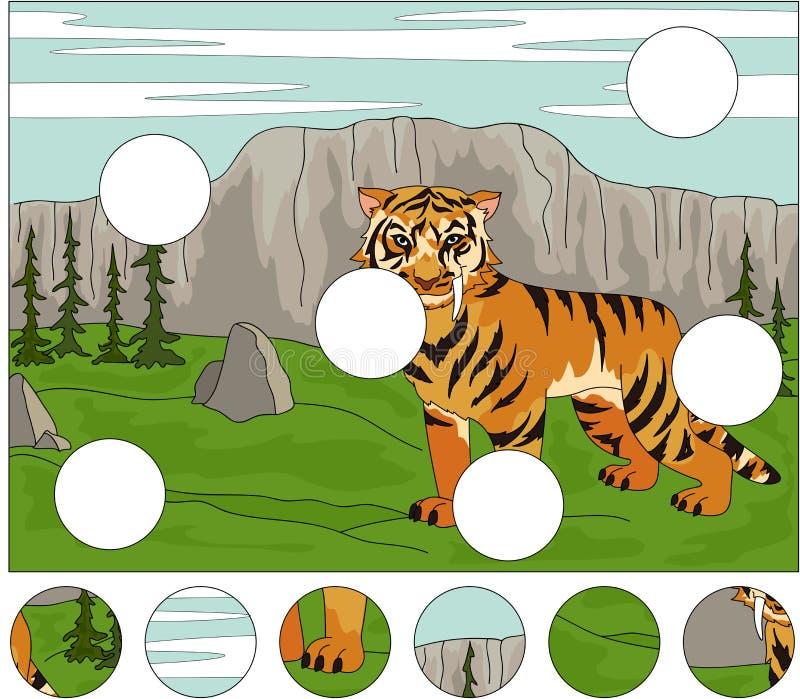 Kreskówka uzębiony tygrys na tle ilustracji