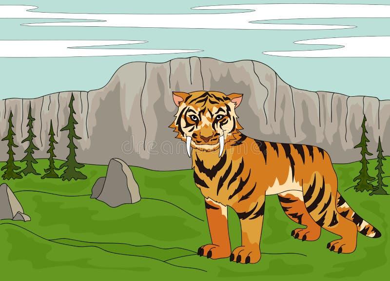 Kreskówka uzębiony tygrys na tle prehistoryczny n royalty ilustracja