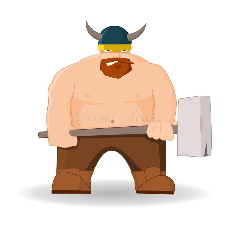 Kreskówka Viking z młotem ilustracji