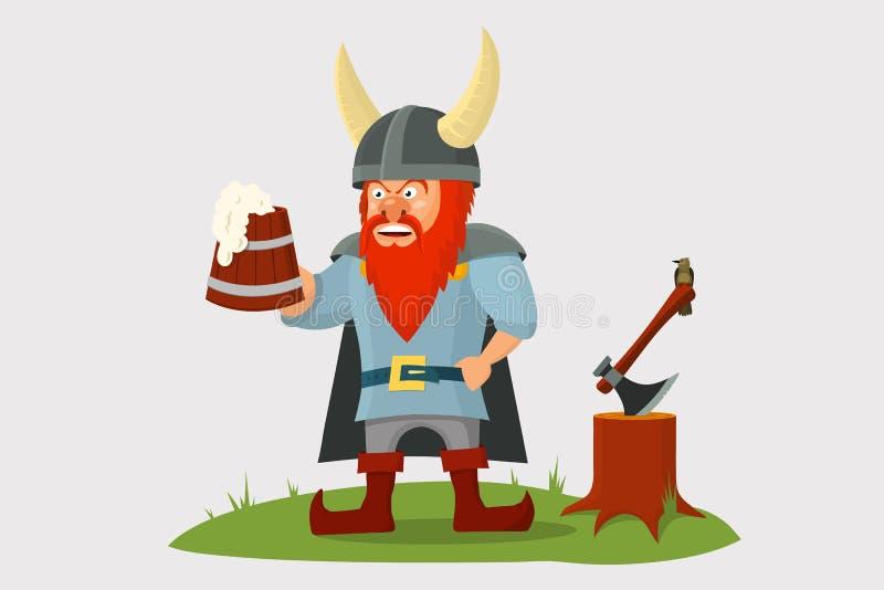 Kreskówka Viking z piwnym kubkiem w ręce royalty ilustracja