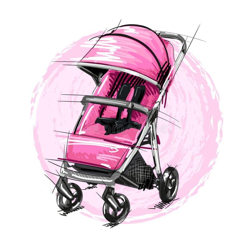 Kreskówka wózka spacerowego wektoru ilustracja Dziewczyny Perambulator royalty ilustracja