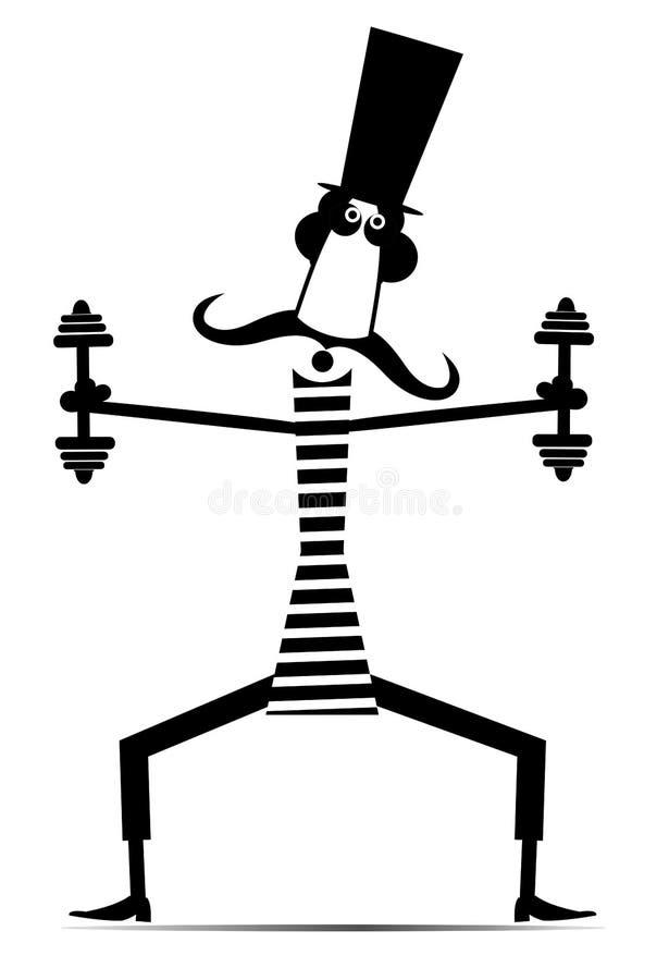 Kreskówka wąsy długi mężczyzna ćwiczenia z dumbbells odizolowywającą ilustracją royalty ilustracja
