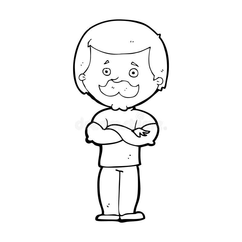 kreskówka wąsy waleczny mężczyzna ilustracji