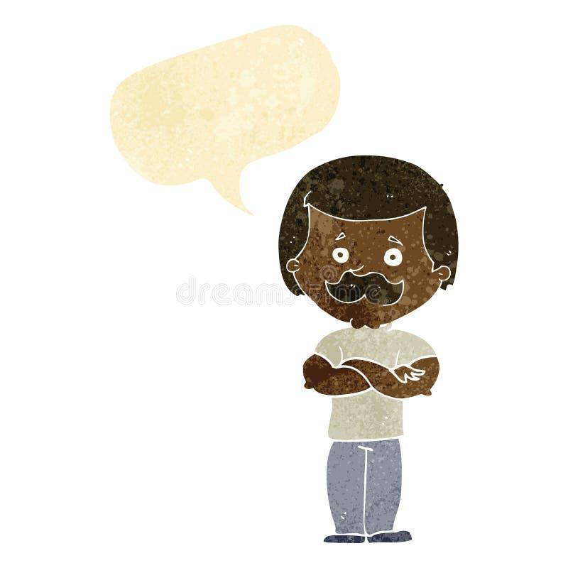 kreskówka wąsy waleczny mężczyzna z mowa bąblem royalty ilustracja