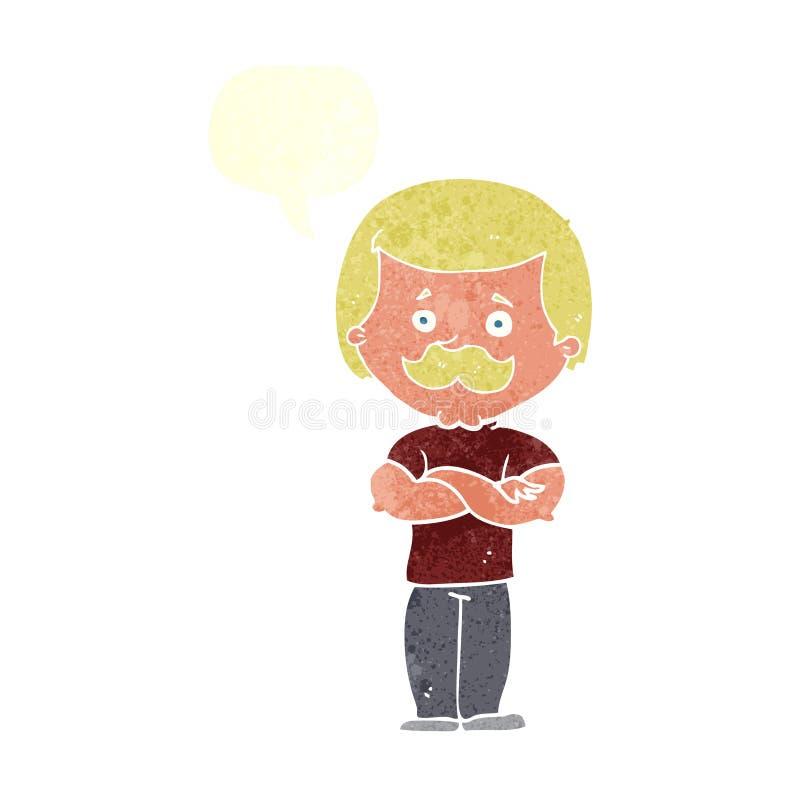 kreskówka wąsy waleczny mężczyzna z mowa bąblem ilustracji