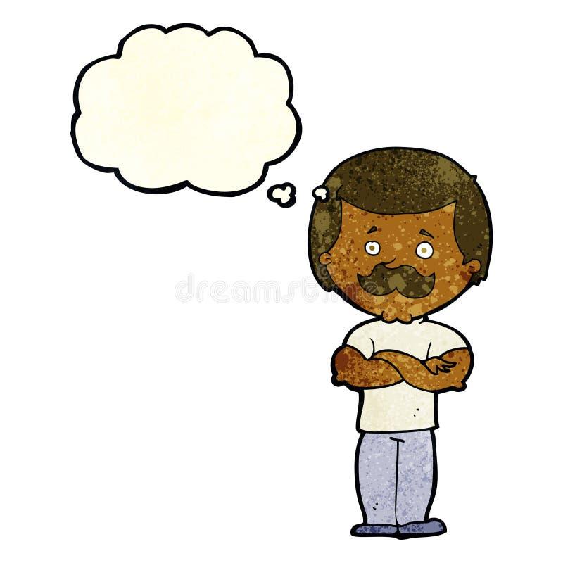 kreskówka wąsy waleczny mężczyzna z myśl bąblem royalty ilustracja