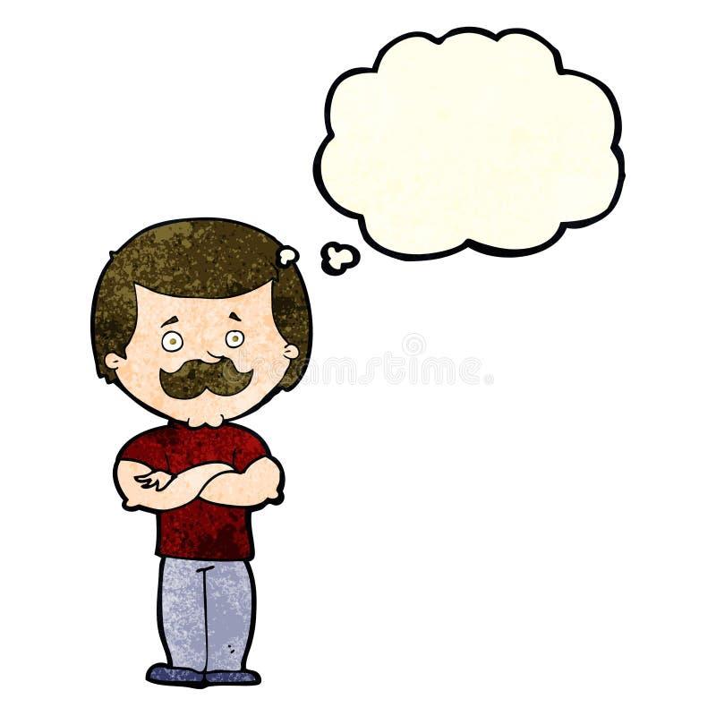 kreskówka wąsy waleczny mężczyzna z myśl bąblem ilustracja wektor