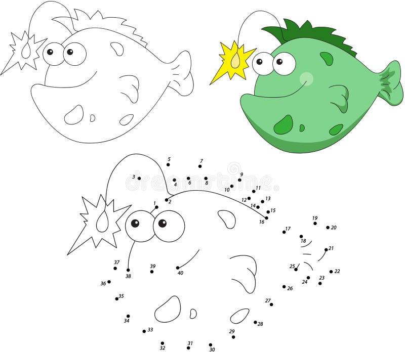 Kreskówka wędkarza uśmiechnięta ryba również zwrócić corel ilustracji wektora Kropka kropkować gama ilustracji