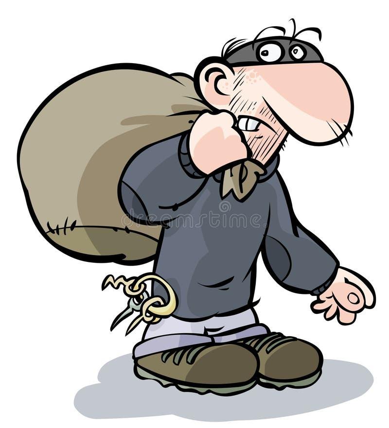 Kreskówka włamywacz. ilustracji