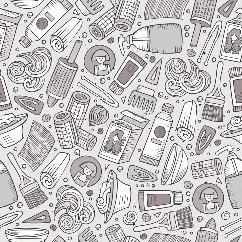Kreskówka Włosianego salonu pociągany ręcznie bezszwowy wzór ilustracji