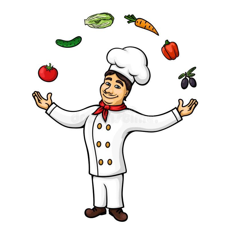 Kreskówka włoskiego szefa kuchni kuglarscy warzywa, owoc ilustracji