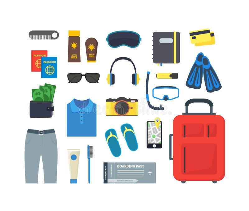 Kreskówka wakacje i podróż koloru ikony set wektor ilustracja wektor
