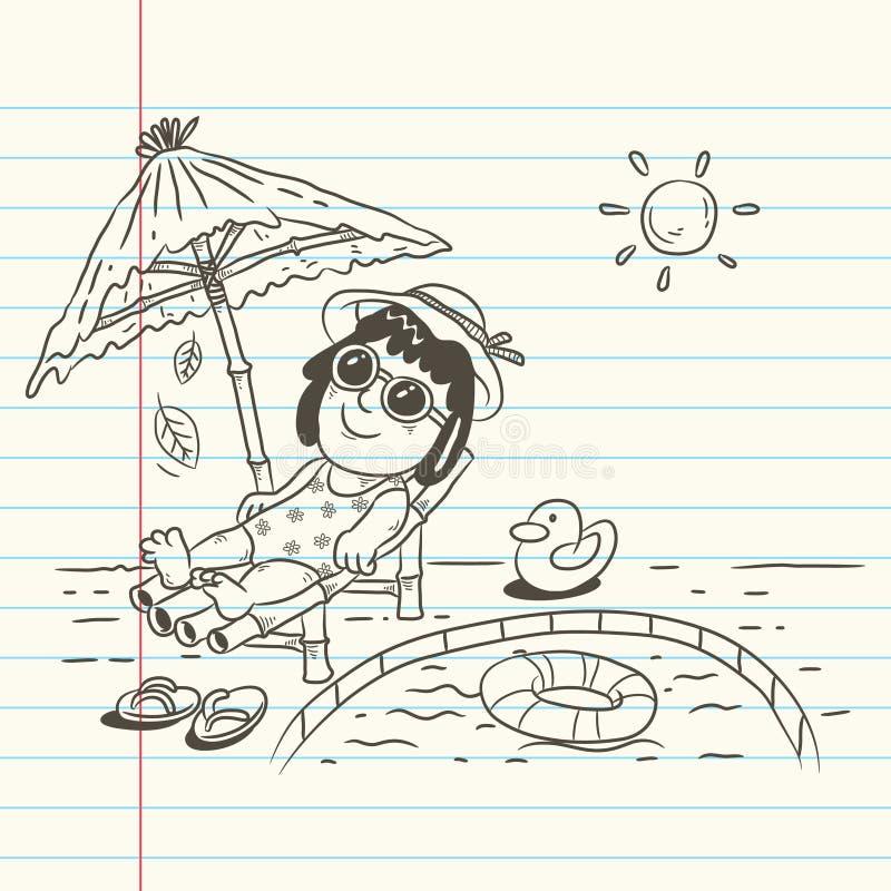 Kreskówka wakacje letni ilustracja wektor