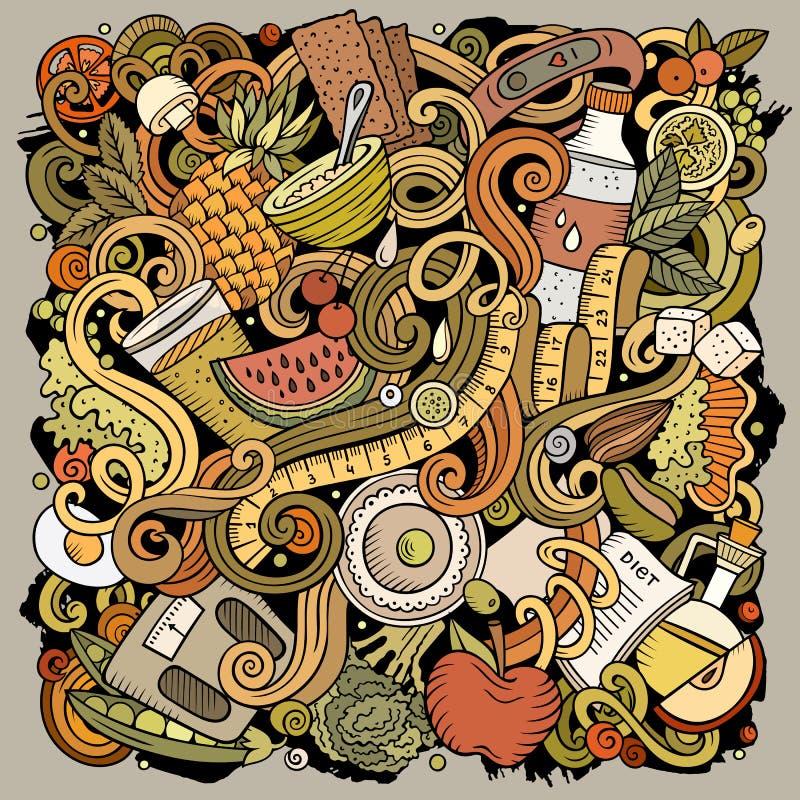 Kreskówka wektor doodles diety jedzenia ilustrację Jaskrawych kolorów żywienioniowy śmieszny obrazek ilustracji