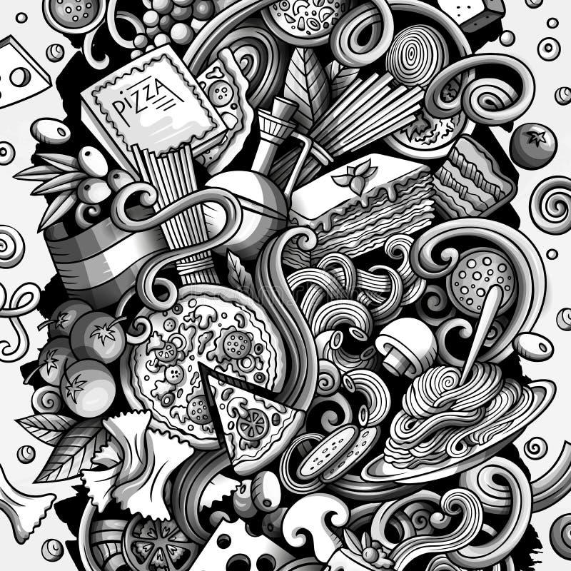Kreskówka wektor doodles Włoską Karmową ilustrację Włochy kuchni śmieszny obrazek royalty ilustracja