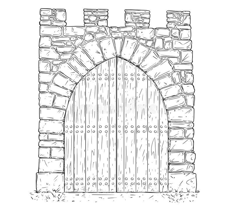 Kreskówka wektor Kamienna Średniowieczna decyzi brama Zamykająca Drewnianym drzwi royalty ilustracja
