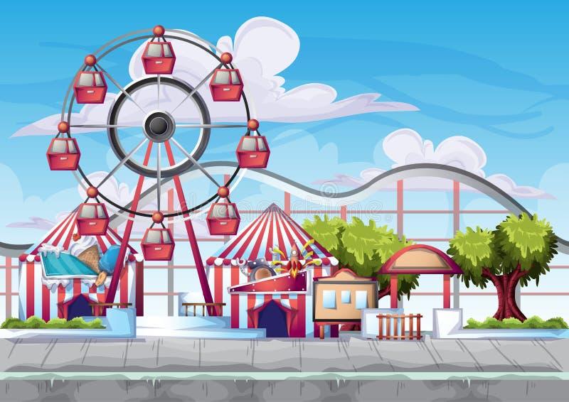 Kreskówka wektorowy park rozrywki z oddzielonymi warstwami dla gry i animaci ilustracja wektor