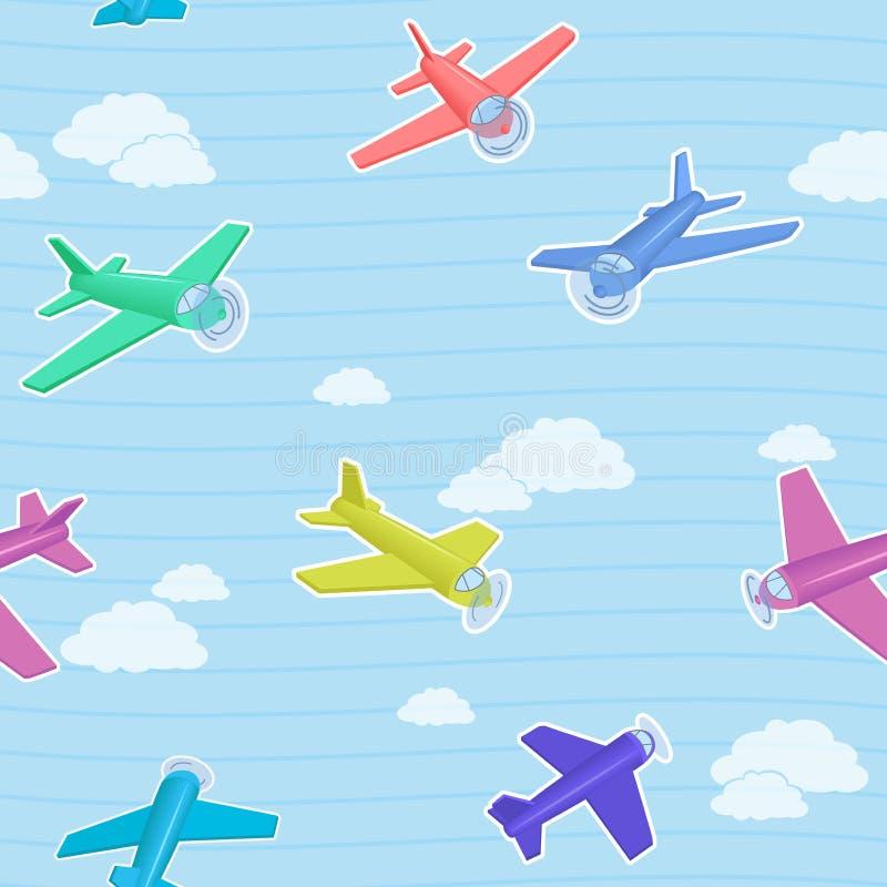 Kreskówka wektoru błękitny bezszwowy wzór z kolorowymi samolotami obraz royalty free