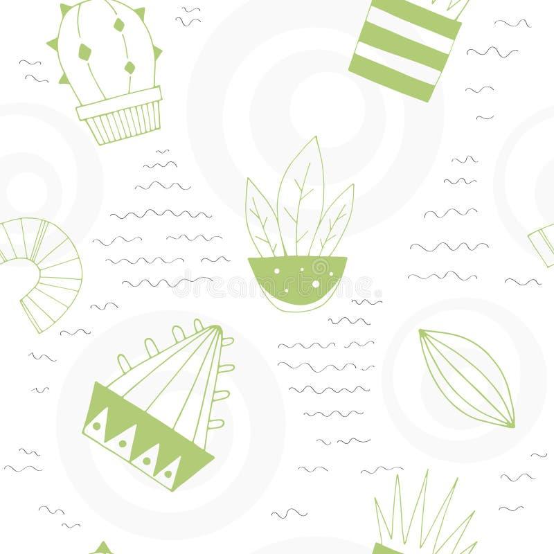 Kreskówka wektoru bezszwowy wzór z ślicznymi kaktusami i dekoracyjnymi elementami ilustracji