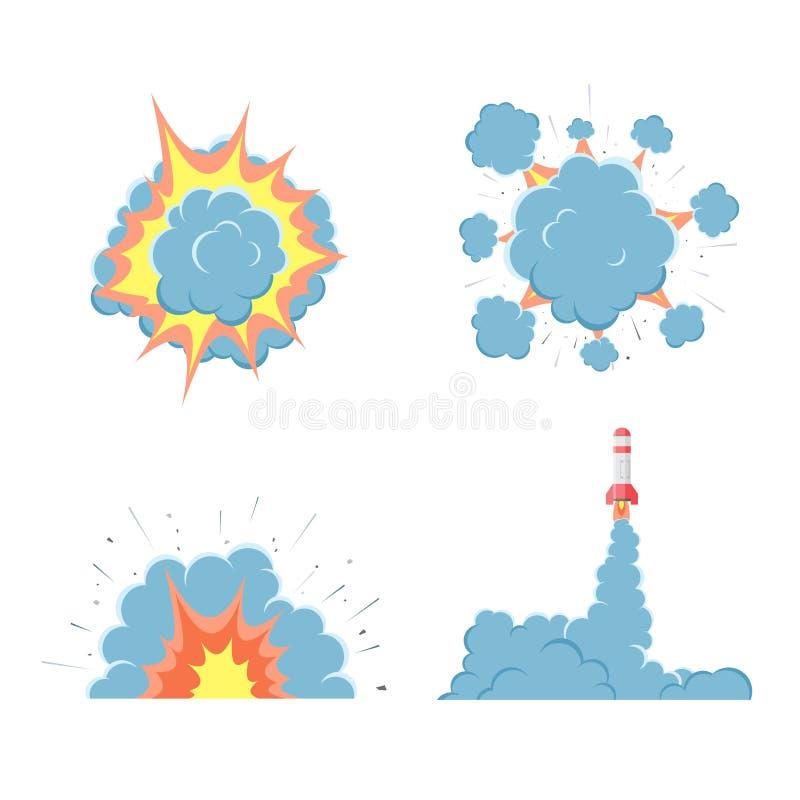 Kreskówka wektoru bomby wybuch z dymem royalty ilustracja
