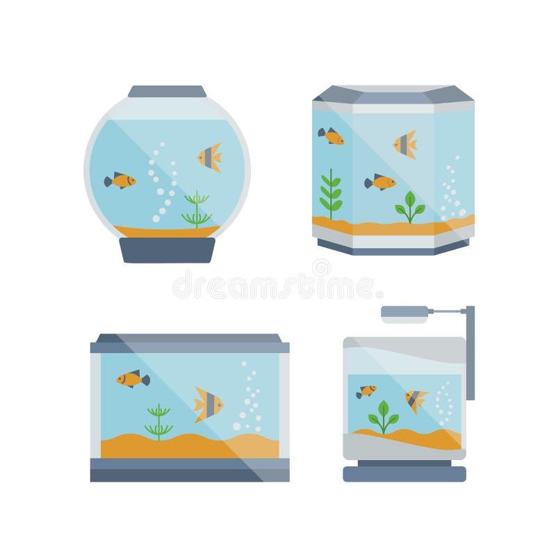 Kreskówka wektoru domu akwarium ilustracja z wodą, roślina royalty ilustracja