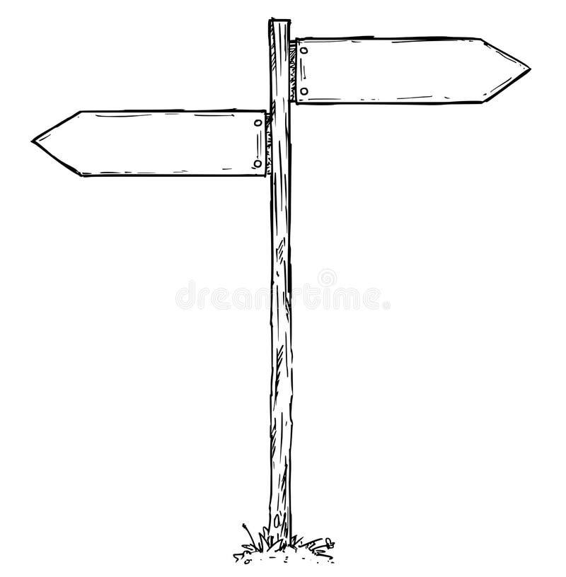 Kreskówka wektoru kierunku Pusty znak z Dwa decyzj strzała royalty ilustracja