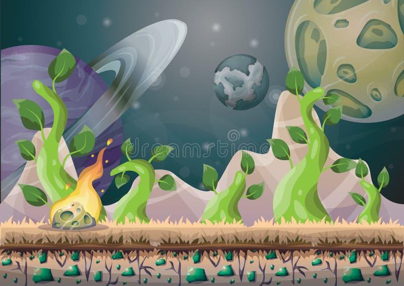 Kreskówka wektoru krajobraz z meteorowym tłem z oddzielonymi warstwami dla gemowej sztuki i animaci gemowego projekta wartości royalty ilustracja