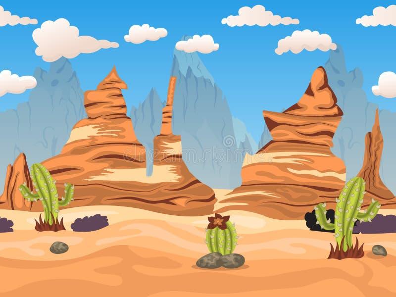 Kreskówka westernu pustynia tiliable royalty ilustracja