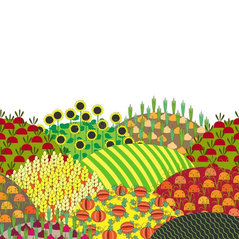 Kreskówka wiejski krajobraz z wzgórzami i polami, wektorowa ilustracja royalty ilustracja