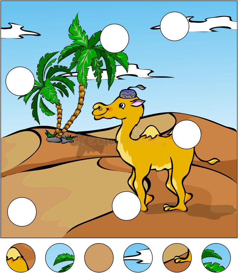 Kreskówka wielbłąd w pustyni uzupełnia łamigłówkę i znajduje mi ilustracji
