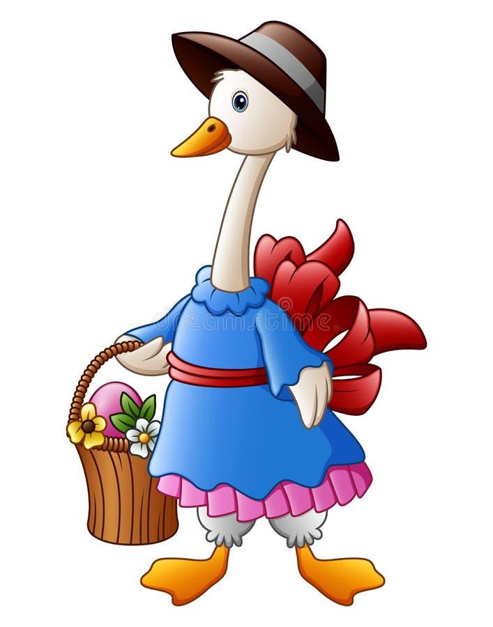 Kreskówka Wielkanocny królik niesie kosz jajka pełno ilustracja wektor