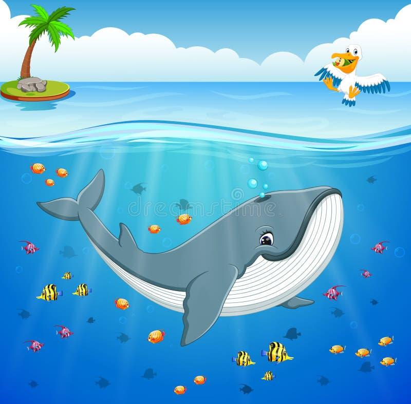 Kreskówka wieloryb pod morzem ilustracja wektor