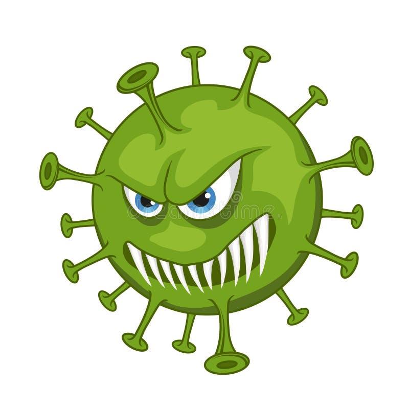 Kreskówka wirus Śmieszny mikro wirus ilustracja wektor