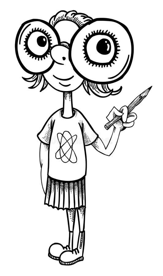 Kreskówka wizerunek geeky dziewczyna royalty ilustracja