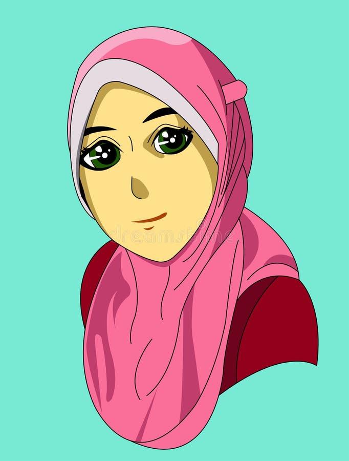 Kreskówka wizerunek hijab kobieta ilustracja wektor