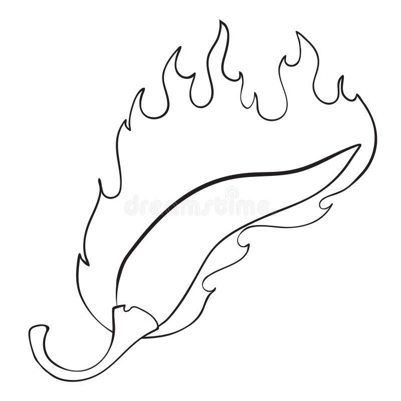 Kreskówka wizerunek płonąć gorący chili pieprzu ilustracji