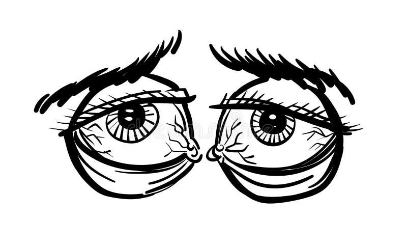 Kreskówka wizerunek zmęczeni oczy ilustracji