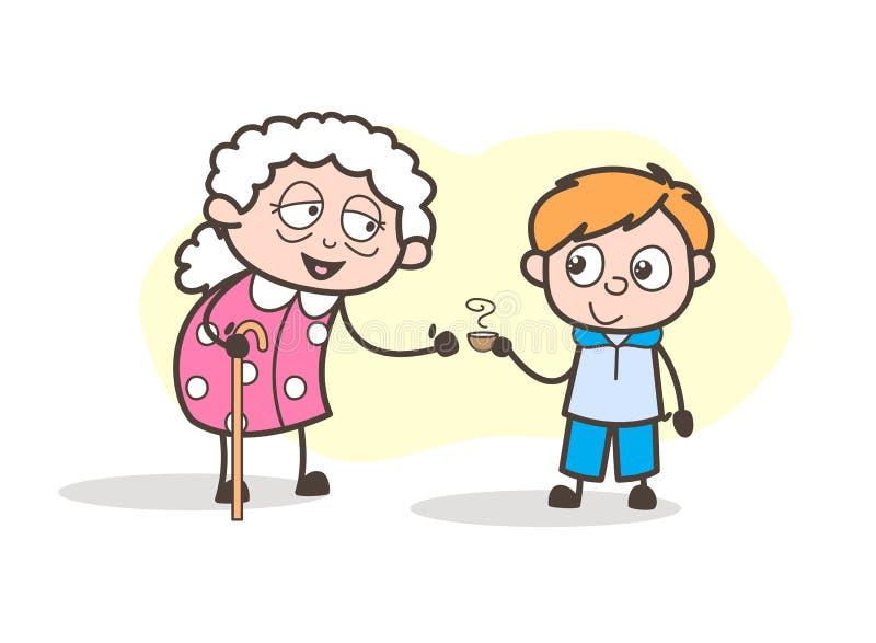 Kreskówka wnuk Przedstawia Gorącej herbaty Jego babcia wektoru ilustracja royalty ilustracja