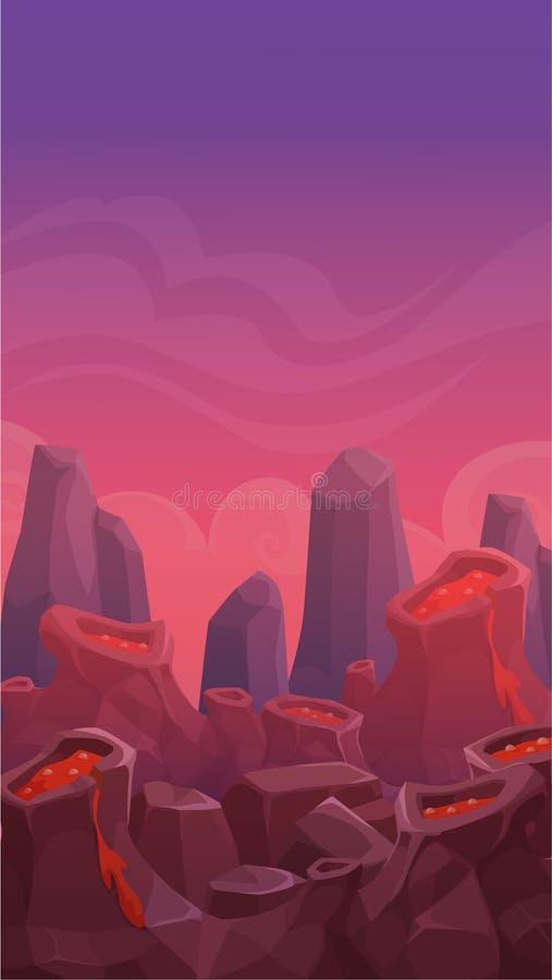 Kreskówka wulkanu pionowo krajobraz ilustracja wektor
