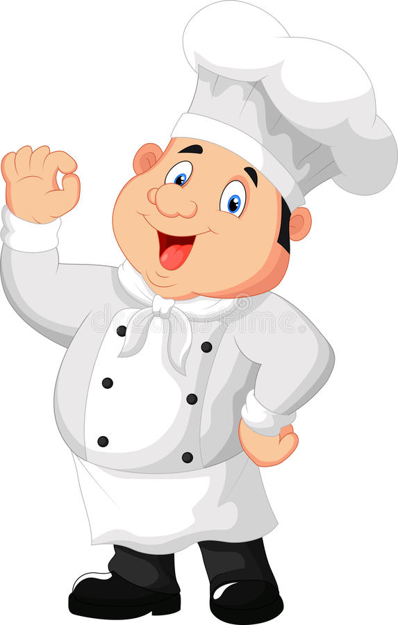 Kreskówka wyśmienity szef kuchni daje zadowalającemu znakowi ilustracja wektor