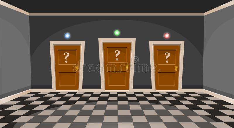 Kreskówka wybiera drzwiowego pojęcie Pusty pokój z trzy drzwi w popielatym stylu ilustracji