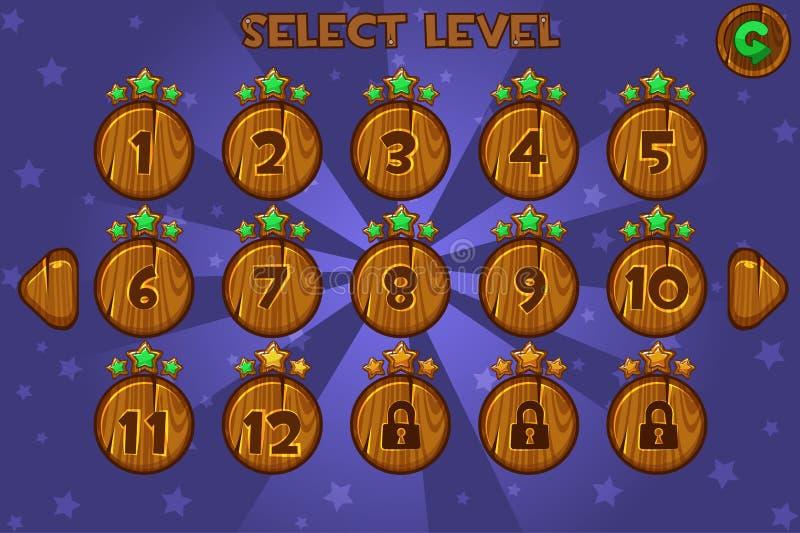 Kreskówka wyboru Drewniany Równy ekran Gry UI set ilustracji