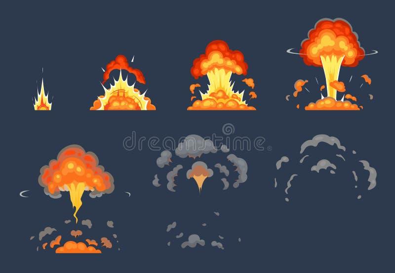 Kreskówka wybuchu bombowa animacja Wybuchający animować ramy, atomowe wybucha skutek i wybuchy dymią wektor ilustracji