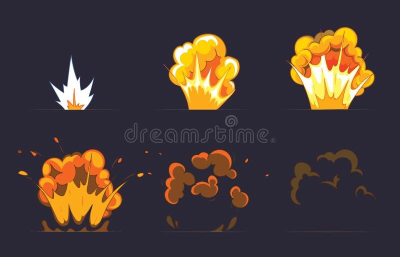 Kreskówka wybuchu skutek z dymem wektor ilustracji