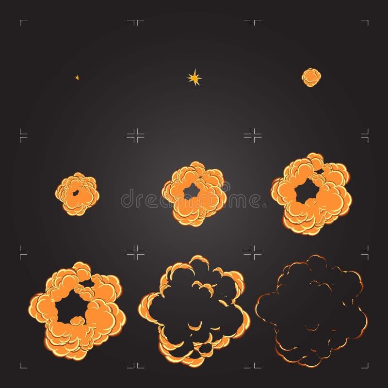 Kreskówka wybuchu sprite prześcieradła animacja Projekta element dla gry lub animaci ilustracja wektor
