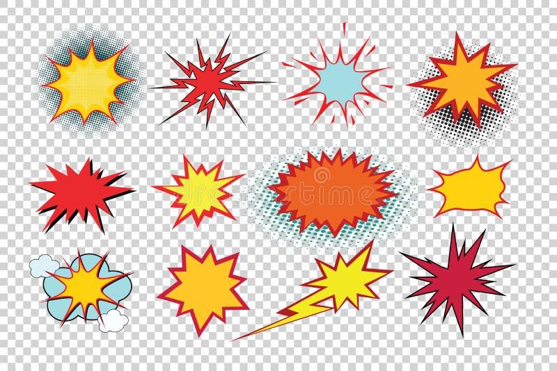 Kreskówka wybuchu wystrzału sztuki zestaw odizolowywa royalty ilustracja