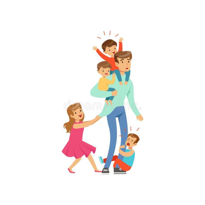 Kreskówka wyczerpywał ojca z jego cztery małymi niegrzecznymi dzieciakami royalty ilustracja