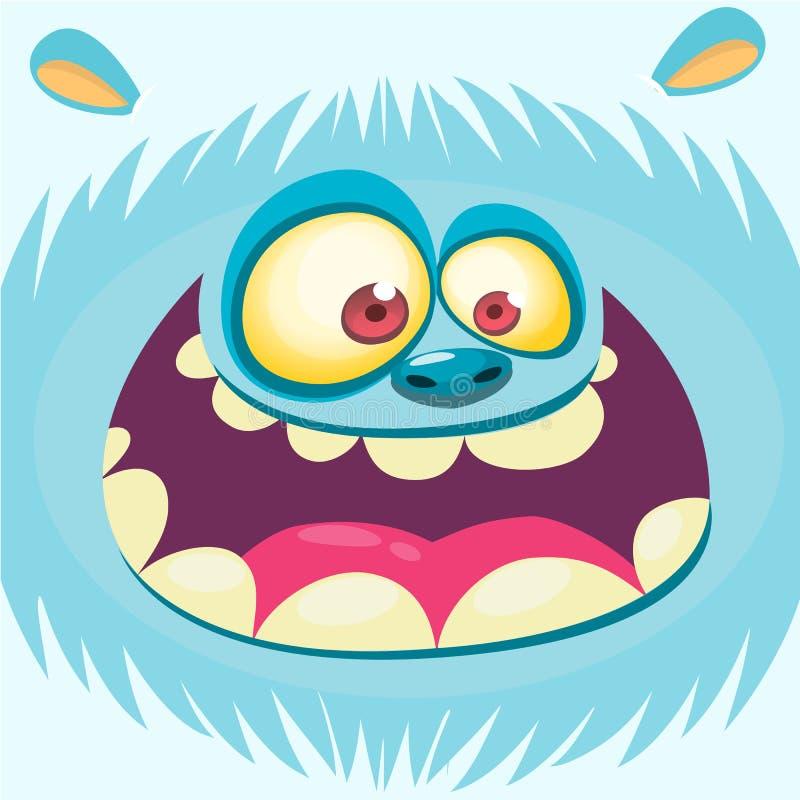 Kreskówka yeti twarz Wektorowy Bigfoot bałwan Kreskówka potwora szczęśliwa twarz Halloweenowa potwór maska Śmieszny potwora avata ilustracja wektor