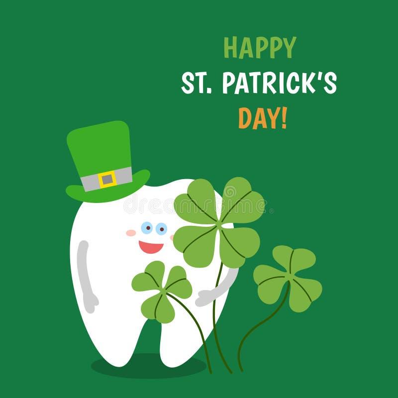 Kreskówka ząb jest ubranym kapelusz trzyma czterolistnego shamrock na zielonym tle ilustracji